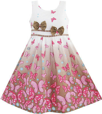 Girls Dress Brown Butterfly Double Bow Tie Party Kids Sundress Size - Butterfly Dress Kids