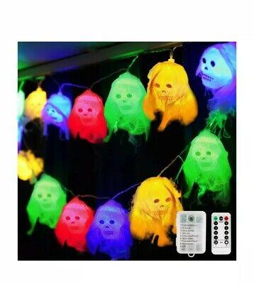 Halloween String Lights, 20 LED 10 Ft Colorful Skeleton Skull Decorative