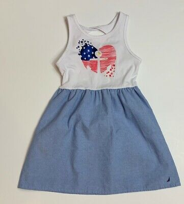 Nautica Girls Size 6 Chambray Red White Blue Anchor Tank Dress
