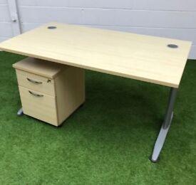 Maple rectangular desk with cantilever legs cheap