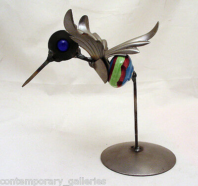 Yardbirds Recycled Hummingbird on Stand Metal Sculpture with Cabinet Knob Body