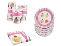 NEW Set Cupcake Pink Cake 15 Picnic Party Paper Plates Cups & Napkins