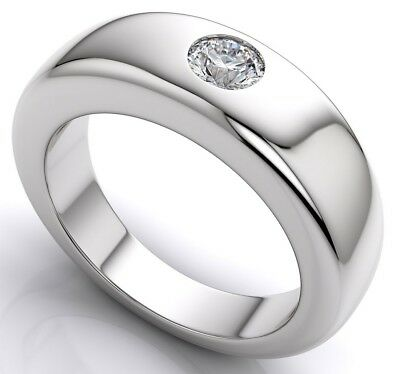 Mens Solitaire Wedding Band Comfort-Fit Flush Set Round Cut 925 Sterling Silver Comfort Fit Solitaire Setting
