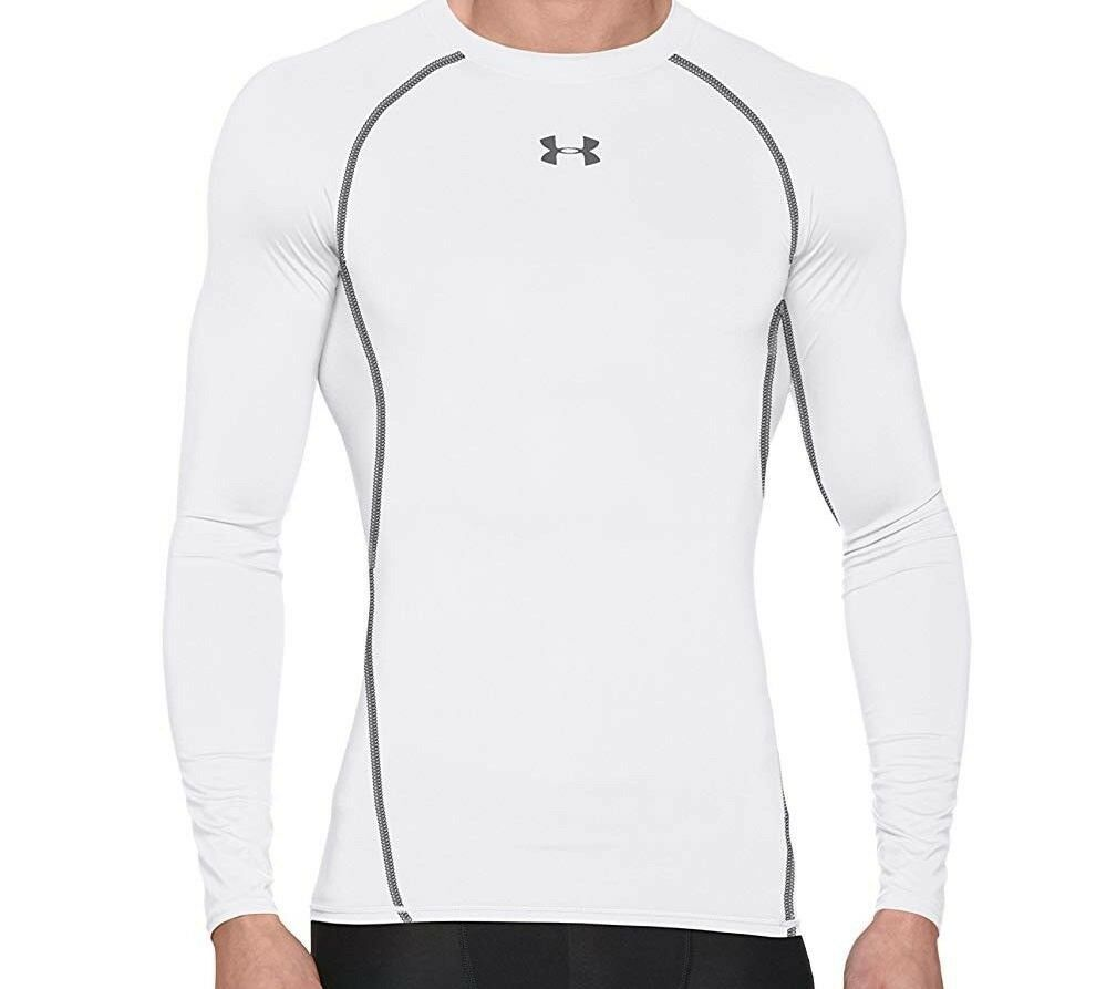 Under Armour HG Heatgear ARMOUR Mens Long-Sleeve Compression Shirt Medium  White 7bc8c2623