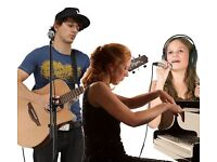 Guitar lessons, Piano lessons, Singing lessons, Bass lessons, Drum Lessons at home or locally