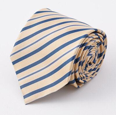 NWT $295 CESARE ATTOLINI NAPOLI White-Brown-Blue Ribbon Stripe Silk Tie