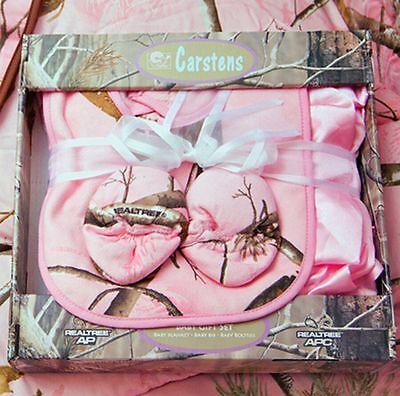 Pink Camo Bib (Realtree Pink Camo Baby Blanket Bib Booties Set, Girl Camouflage)
