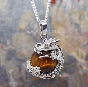 925 Silver Necklace Tigers Eye Stone Dragon Ball Pendant Reiki Healing Chakra