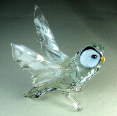 blown glass  bird  polar snow owl open wings  murano figurine ornament white
