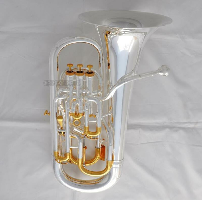 Professional Trigger Compensating Euphonium Bb Horn Silver Gold Finish new Case