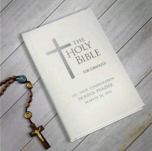 Personalised Catholic Bible Christening Baptism Holy Communion Gift New Baby