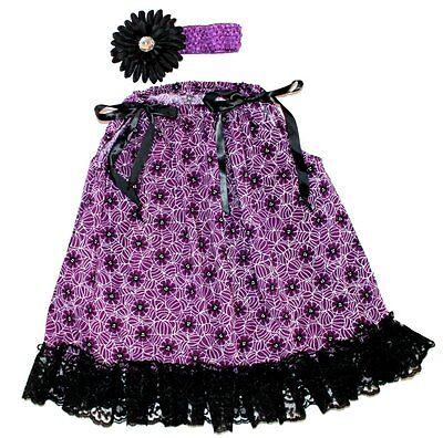 HALLOWEEN Girl 2pc Set Fall Purple Black Pillowcase Dress Headband 2T - Pillowcase Dress Halloween