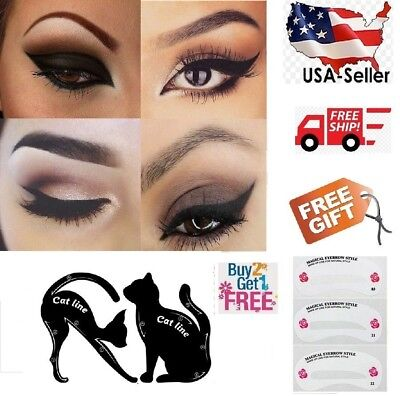 Pvc Cat (2 pcs Cat Eyeliner Stencil Matte PVC Material Repeatable Use Smokey Eye Stencil )