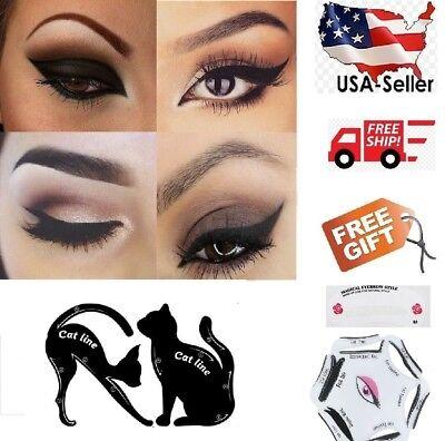 Eyeliner Stencils +Free Eyebrow Guide Card Makeup Tool Set Cat Eye Liner USA