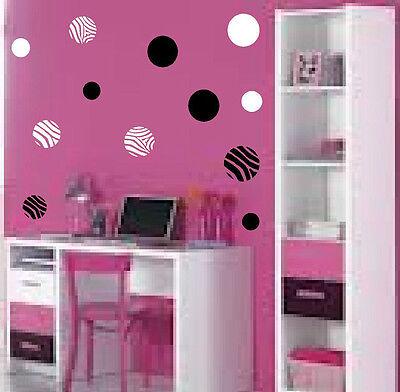 Zebra and or Solid Polka Dots vinyl decals girls wall art teenagers tweens decor - Zebra Decorations