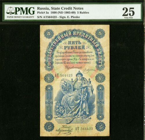 Russia, State Credit Notes 5 Rubles 1898 E.Pleske Pick-3a Very Fine UNC PMG 25