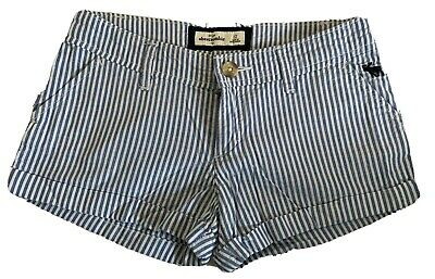Girls Abercrombie Kids Button Cotton Blue White Stripe Cuff Bottom Size 12 EUC