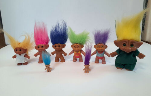 8 Vintage Doll Trolls by Uneeda, Soma, Ace and Dam