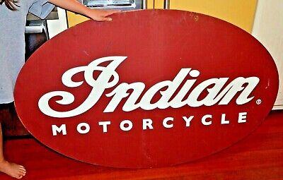 """VTG HUGE INDIAN MOTORCYCLES DEALERERSHIP 2-SIDED EMBOSSED WOODEN SIGN 60""""X38"""""""
