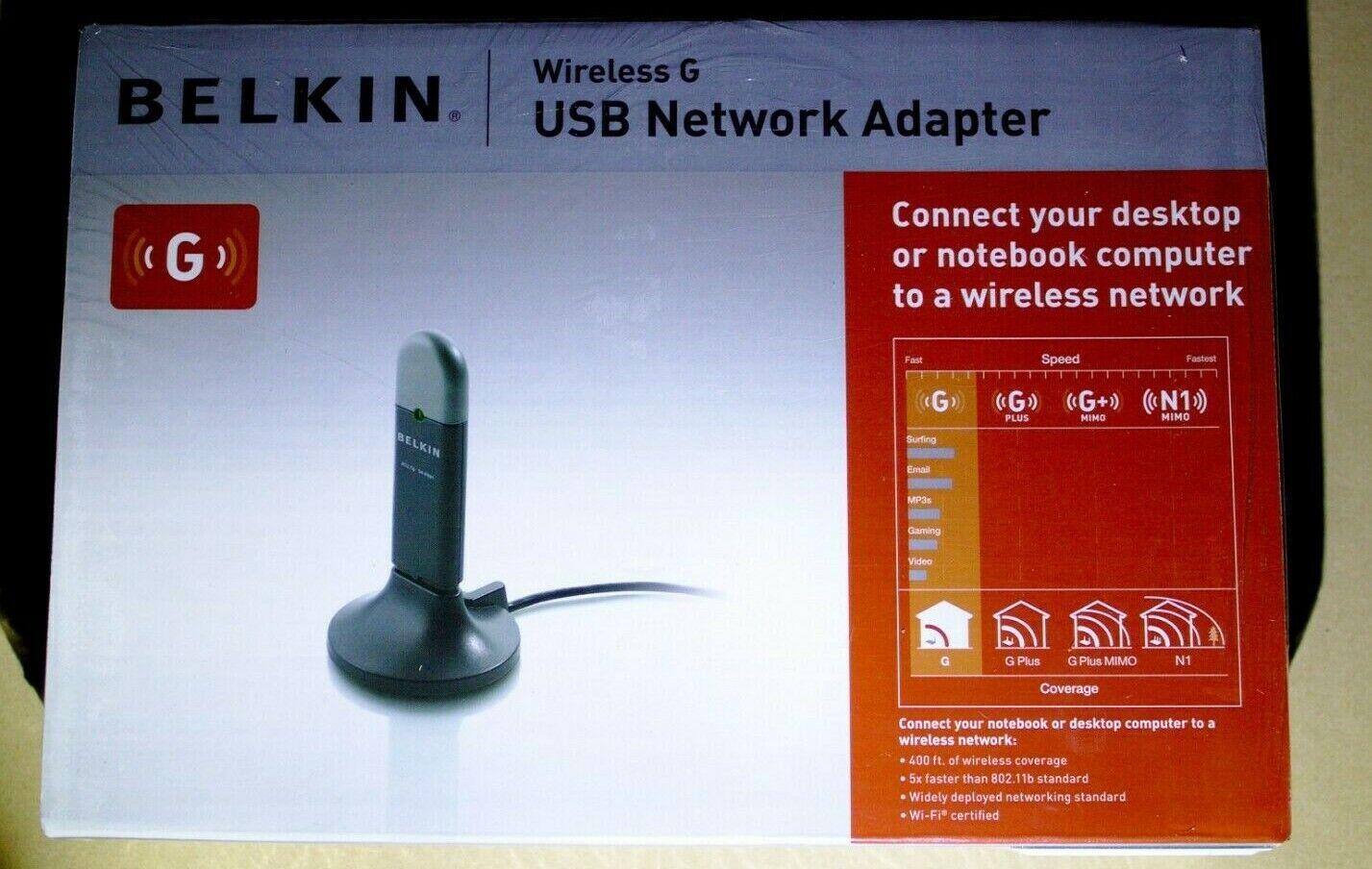 New-in-box Belkin Wireless G WiFi F5D7050 Laptop USB Network