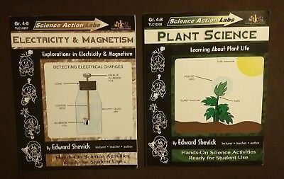 SCIENCE ACTION LABS Electricity & Magnetism/ Plant Science Workbook Set of -