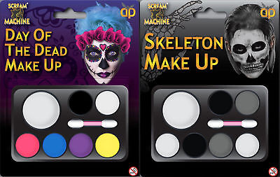 HALLOWEEN SKELETON DAY OF DEAD MAKE UP FACE PAINT KIT DEVIL WITCHES FANCY DRESS