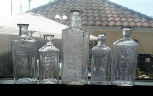LOT OF (5) ANTIQUE CALIFORNIA PHARMACY BOTTLES. BERKELEY,LOMPOC,HANFORD & MORE