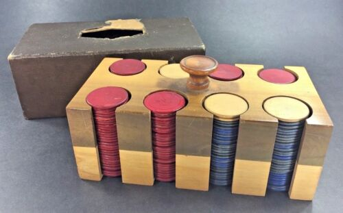 Vintage ~ Wood Poker Chip Caddy & Chips w/ Cover ~ Some Wood Chips