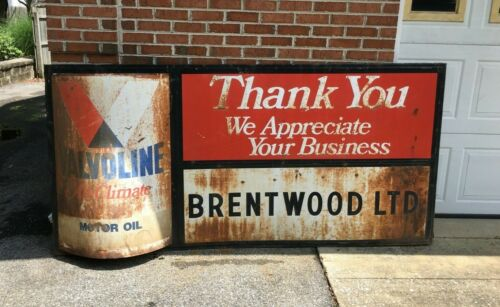 Vintage Valvoline All Climate Motor Oil Can 3D Barn Find Sign