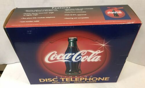 VINTAGE 1995 COCA-COLA COKE BLINKING LIGHT UP DISC TELEPHONE NEW IN BOX FREESHIP