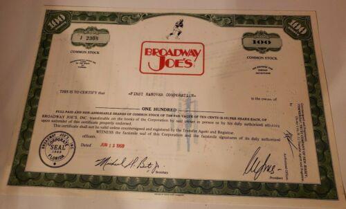 Vintage Joe Namath Broadway Joe
