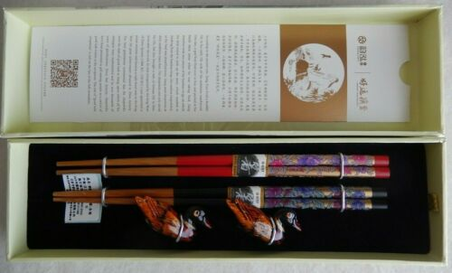 Gift Set 2 Pairs Bamboo Chinese Chopsticks w/ Painted Duck Figure Holders in Box
