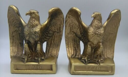 BRASS AMERICAN BALD EAGLE 1776 STATUE VINTAGE PM CRAFTSMAN HEAVY BOOKENDS USA