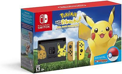 Nintendo Switch Console Bundle Pikachu & Eevee, Let's Go Pikachu, Poke Ball Plus