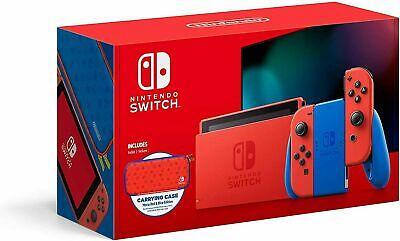 NEW Nintendo Switch Console 32GB Mario Red & Blue Edition Bundle w/ Case