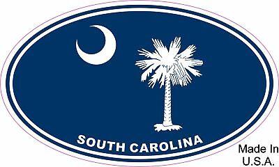 South Carolina State Flag Oval Vinyl Sticker Decal