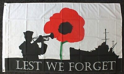 Lest We Forget 5x3 Flag Royal Navy RN Remembrance Sea Armed Forces Day WW1 WW2