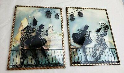 Pair of vintage Italy Silhouette art, 1950s framed, unusual