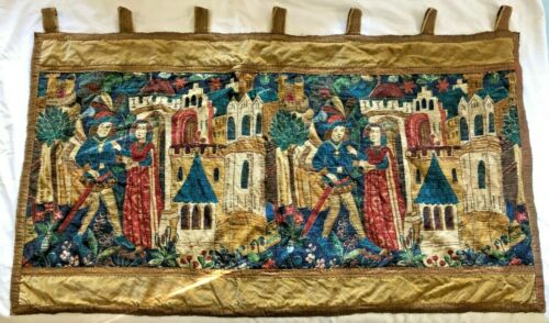 Antique French Tapestry design embroidery hanging panel