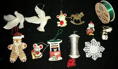 CHRISTMAS ORNAMENTS WISHING WELL SWEETHEARTS OWL ANGEL GINGERBREAD RIBBON - Halloween Well Wishes