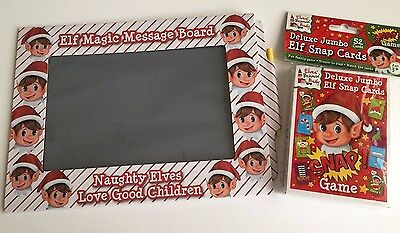 Elf message board & Jumbo Elf Snap Cards Girl Boy Xmas Christmas fun