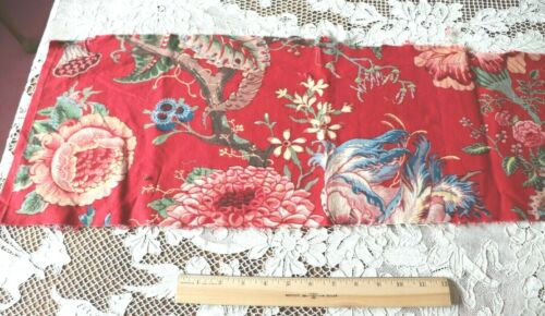Antique Resist & Hand Painted Block Printed Turkey Red Indienne Fabric c1850