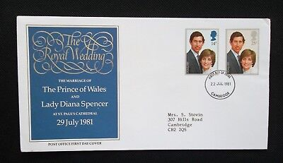 1981    FIRST DAY COVER.    ROYAL WEDDING.   TYPED ADDRESS.