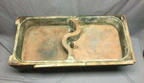 Early Antique Copper Under Mount Kitchen Sink Double Basin Old Vtg 356-19J