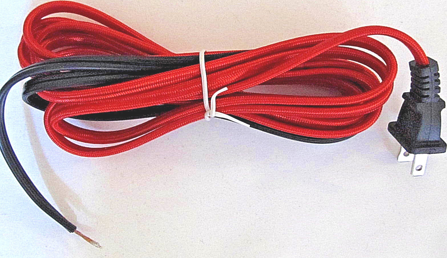 AC Power Cable US 2-prong Plug New Wrapped in *RED* Fabric isolation
