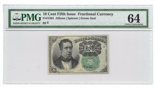 10 CENTS FRACTIONAL CURRENCY FIFTH ISSUE, PMG CHOICE UNCIRCULATED 64 FR-1264