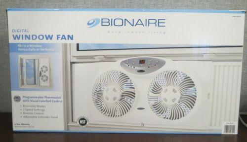 "Bionaire Reversible 9"" Dual Window Fan Programmable Digital Thermostat Remote"