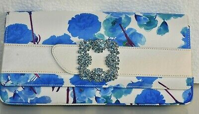 $1670 NEW Manolo Blahnik CAPRI Satin Jewel Hangisi Buckle Clutch Blue White Bag  Capri Blue Satin