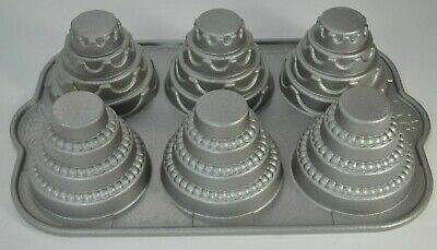 Nordic Ware Tiered Wedding Cakelet Pan 3D Cake Baking Dimensional Cast Aluminum
