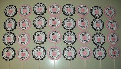 32 SWEET 16 Personalized cupcake birthday party favors picks